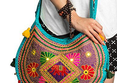 49e7a6be2b Hippie Sling Handmade Crossbody Bag Boho Chic Patchwork Embroidered  Shoulder Purse Gypsy Blue