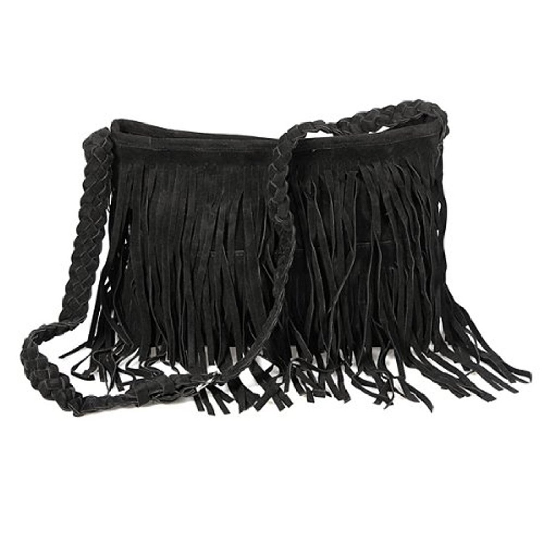 Wonderful Ecosusi Hippie Suede Tassel Fringe Crossbody Handbag (Black  CS32