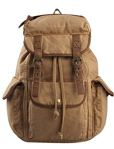 Leaper Causal Style Canvas Laptop Bag  Shoulder Bag  School Backpack   Travel Bag  Handbag Apricot 54b4ab35bce27