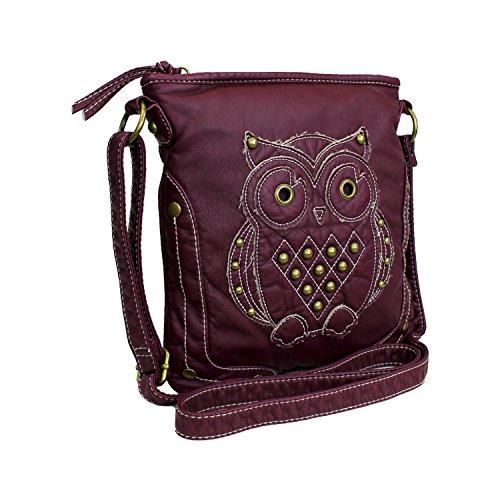 Wine Hipster Vegan Leather Crossbody Bag W Hippie Owl