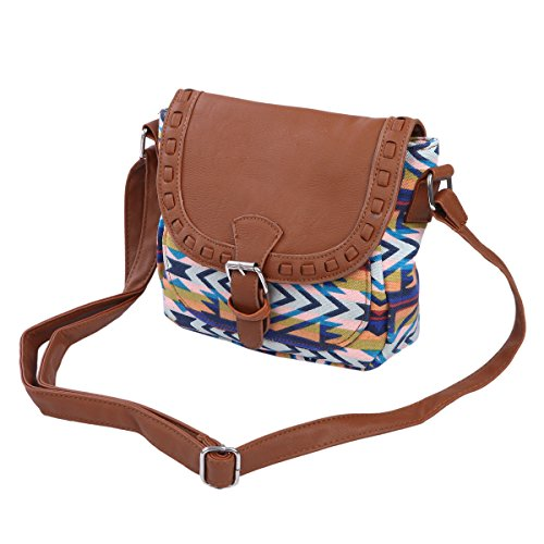 Small Tribal Style Bohemian Aztec Print Flap Crossbody Saddle ... 24638f2810282