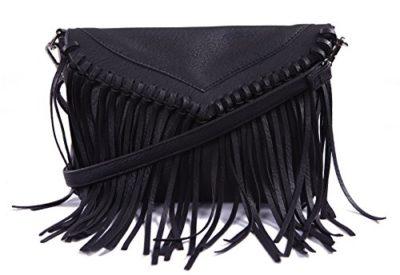 40c9eb8af66e HDE Women s Leather Hobo Fringe Crossbody Tassel Purse Vintage Small Handbag