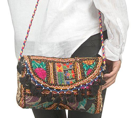 973204b614 Tribe Azure Satchel Quilted Purse Handbag Tote Crossbody Embroidered Tassel  Fashion Boho Hippie Hipster …