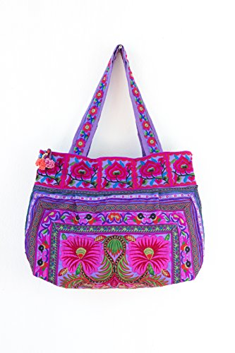 0c9c867ca Changnoi Purple Flowers Ethnic Tote Bag Hmong Tribe Embroidered Thailand  Fair Trade
